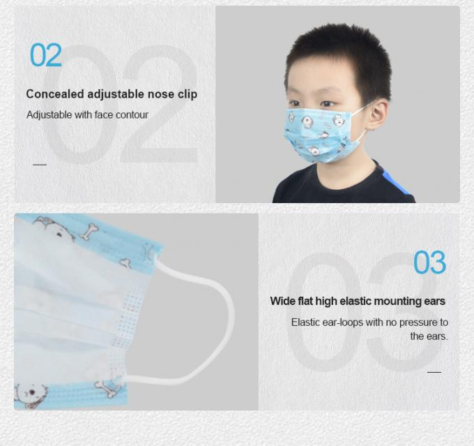 Ear Loop Kids Face Mask , Decorative Outdoor Baby Sick Mask Eco Friendly